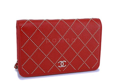 NIB 19P Chanel Red Goatskin Gold Studded Wallet on Chain WOC Flap Bag GHW  NR - Boutique Patina