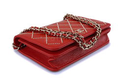 NIB 19P Chanel Red Goatskin Gold Studded Wallet on Chain WOC Flap Bag GHW  NR