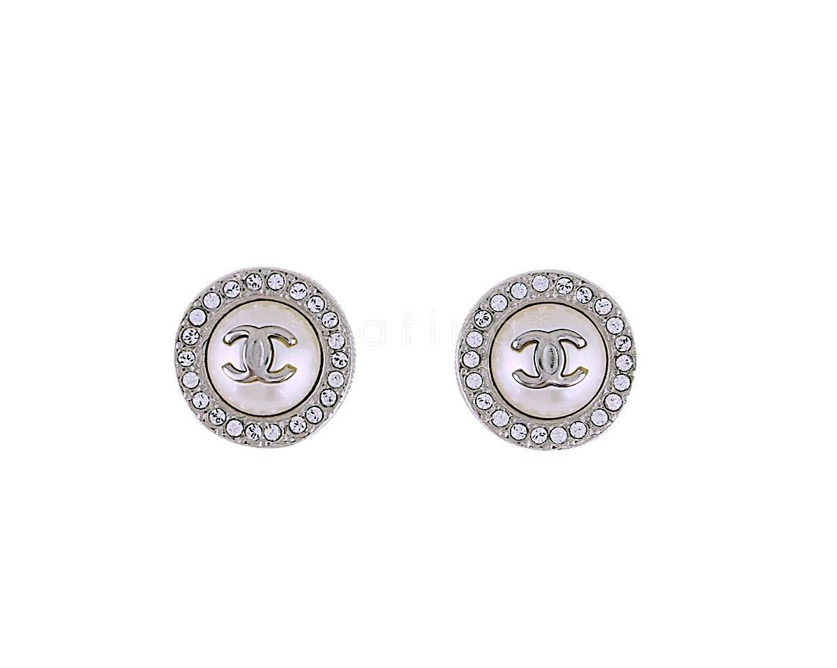NIB Chanel Classic Round Pearl Crystal Stud Earrings A97958 SHW