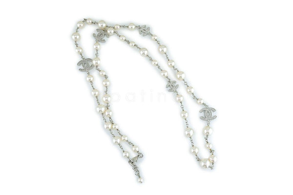"NIB Chanel Timeless Classic 42"" 5-Crystal CC Pearl Long Necklace SHW A36121"
