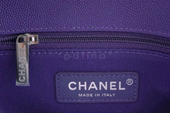 NIB 19K Chanel Purple Caviar Small Coco Handle Chevron Flap Bag RHW