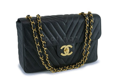 Chanel Vintage Black Caviar Chevron Classic Maxi XL Flap Bag 24k GHW