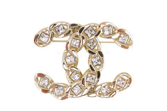 NIB 19S Chanel XL Large Classic Crystal CC Chain Brooch GHW AB0616