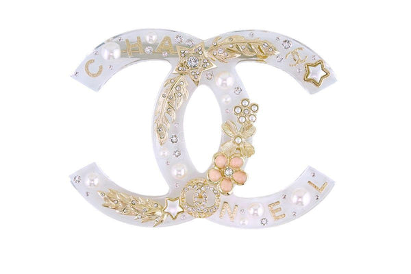 Rare NIB 19K Chanel X/XL Clear Resin Pearl Giant CC Crystal Brooch GHW