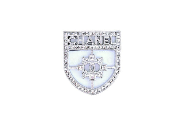 NIB Chanel Classic Crest Shield Logo Brooch A85908 Crystals SHW