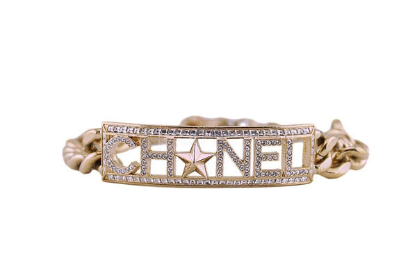 Chanel 17C CUBA LIMITED Crystal ID Bracelet Gold