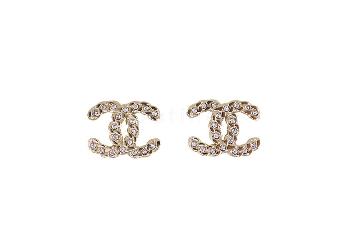 "NIB 19P Chanel Crystal CC Classic ""Chain"" Stud Earrings GHW AB0595"