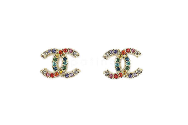 NIB 19S Chanel Rainbow Multicolor Crystal Classic CC Stud Earrings GHW AB1552