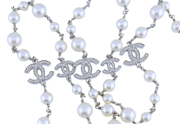 "Chanel Timeless Classic 42"" 5 Crystal CC Pearl Long Necklace SHW"