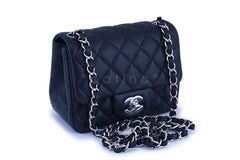 NIB Chanel Black Lambskin Square Mini Classic Flap Bag SHW