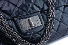 Rare Chanel Black Patent XXL Supermodel Reissue Flap Bag Weekender RHW