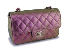 NIB 20B Chanel Purple Pink Iridescent Rainbow Rectangular Mini Classic Flap Bag GHW