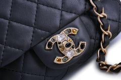 Chanel Pearly Black Precious Jewel Crystals Square Mini Classic Jeweled Flap Bag