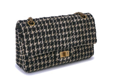 Rare 2015 Chanel Houndstooth Tweed 2.55 Reissue Classic Flap Bag Small/Medium 225