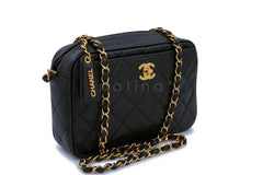 Chanel Vintage Black Caviar Classic Clasp Camera Case Bag 24k GHW