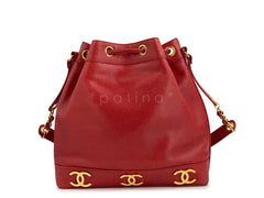 Chanel Vintage Red Caviar Drawstring Bucket Tote Bag 24k GHW