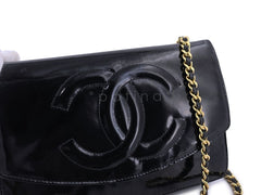 Chanel Vintage Black Patent Timeless Wallet on Chain WOC 24k GHW