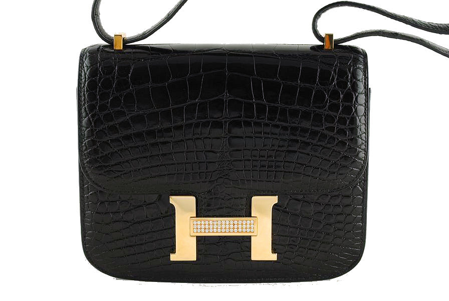 Hermes Black Crocodile Alligator Constance w/Diamonds Bag