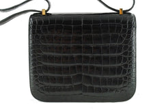 Hermes Black Crocodile Alligator Constance w/Diamonds Bag - Boutique Patina  - 4