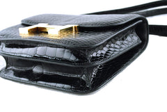 Hermes Black Crocodile Alligator Constance w/Diamonds Bag - Boutique Patina  - 6