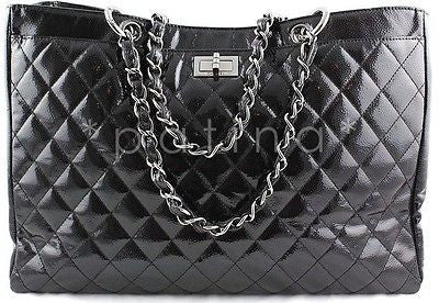 Chanel Black Patent Quilted Caviar Diamond Shine XL Shopper Tote Bag