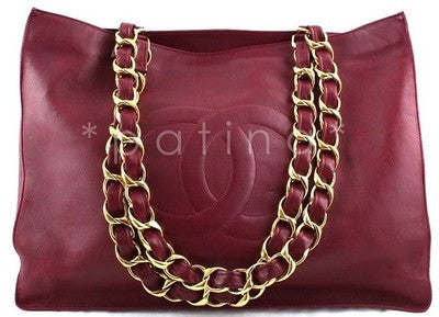 Chanel Red Large Chunky Chain Shopper Logo Tote Bag