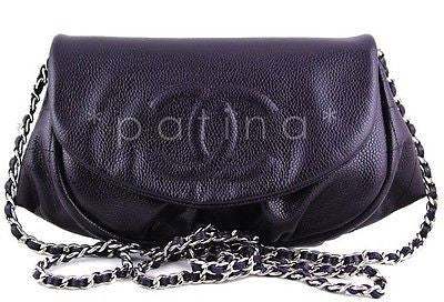 NWT 13A Chanel Purple Violet Fonce Caviar Half Moon WOC Wallet on Chain Bag