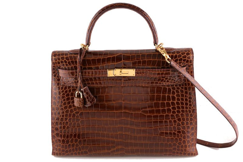 Hermes Honey/Miel 35cm Porosus Crocodile Kelly Sellier Bag
