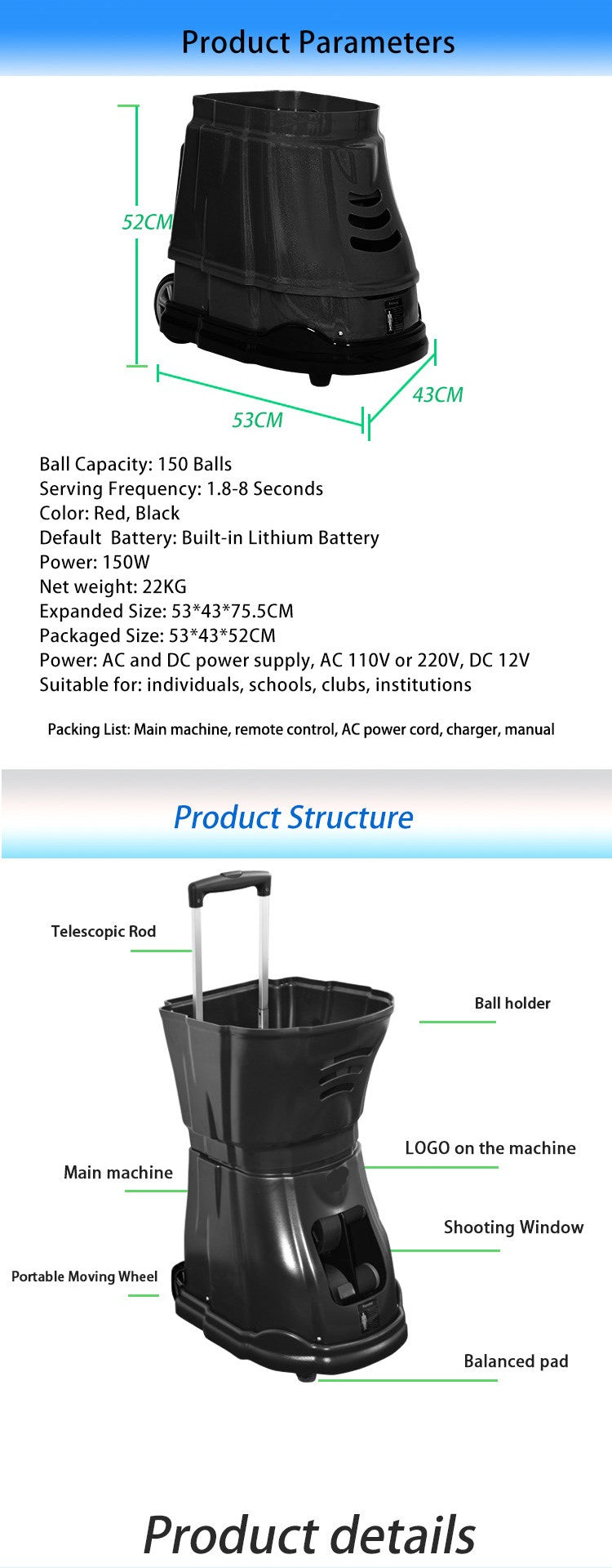 Lawn Tennis Training Ball Throwing Machine : Product Parameters