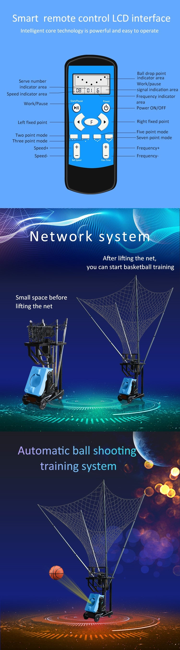 Basketball Ball Throwing Training Machine : LCD display