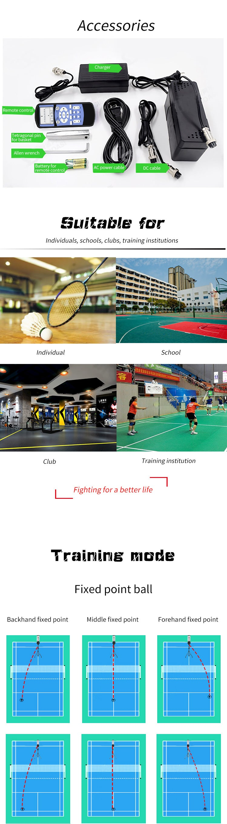 Badminton Training Machine - Accessories & Training Mode