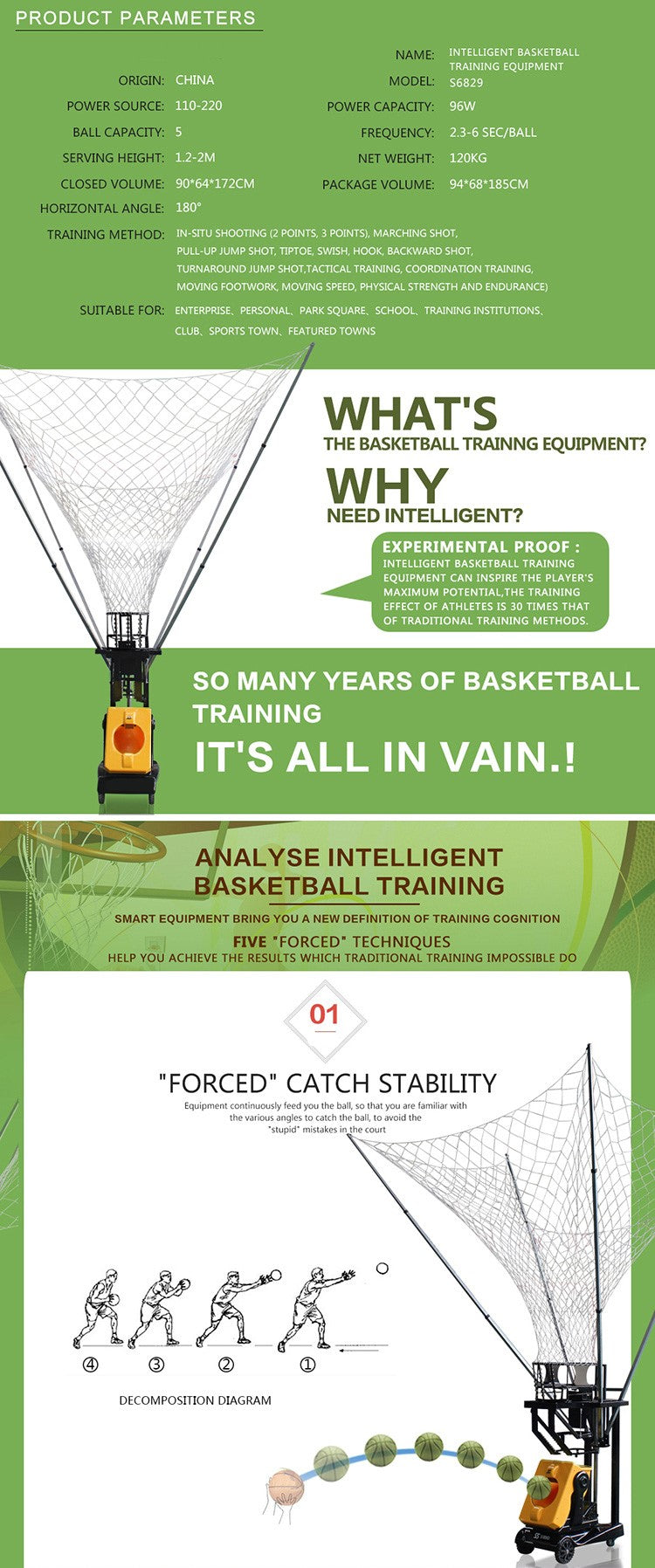 Basketball Training Machine : Product Parameters