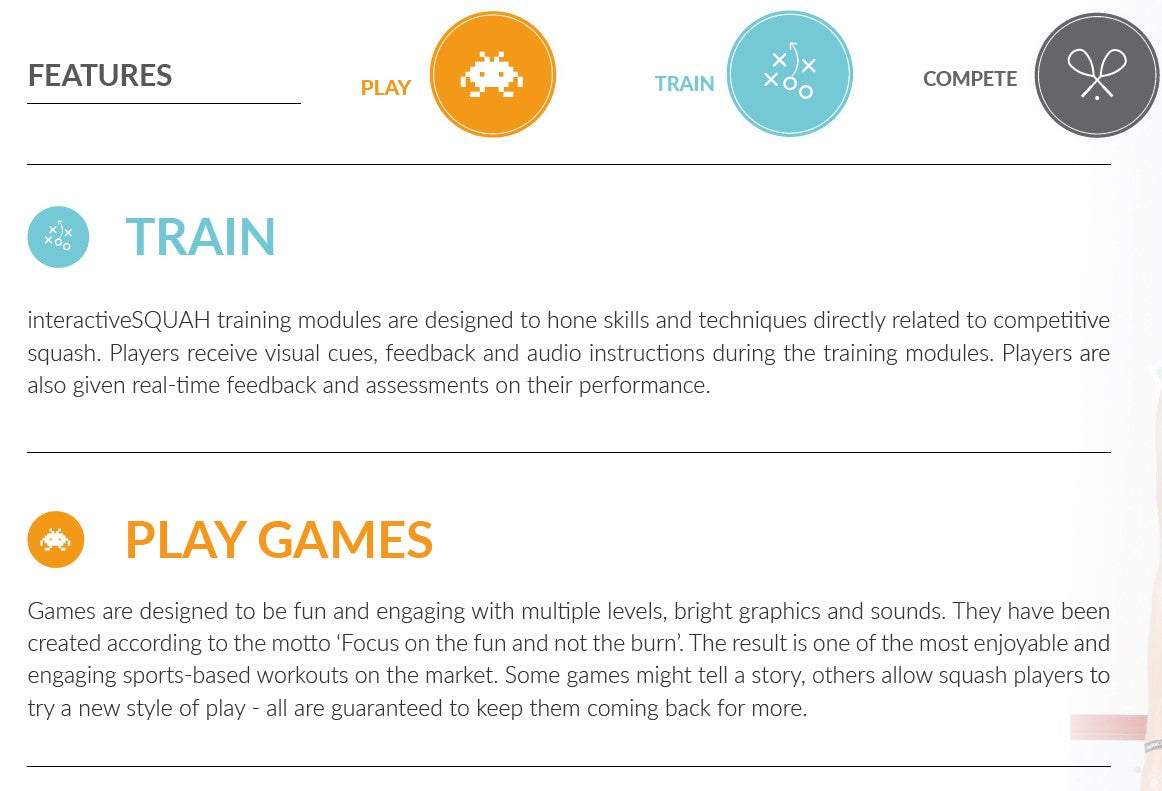 Interactive Squash Training System : Features