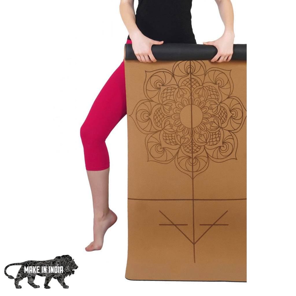 PU Cork Yoga Meditation Mat - Design 1