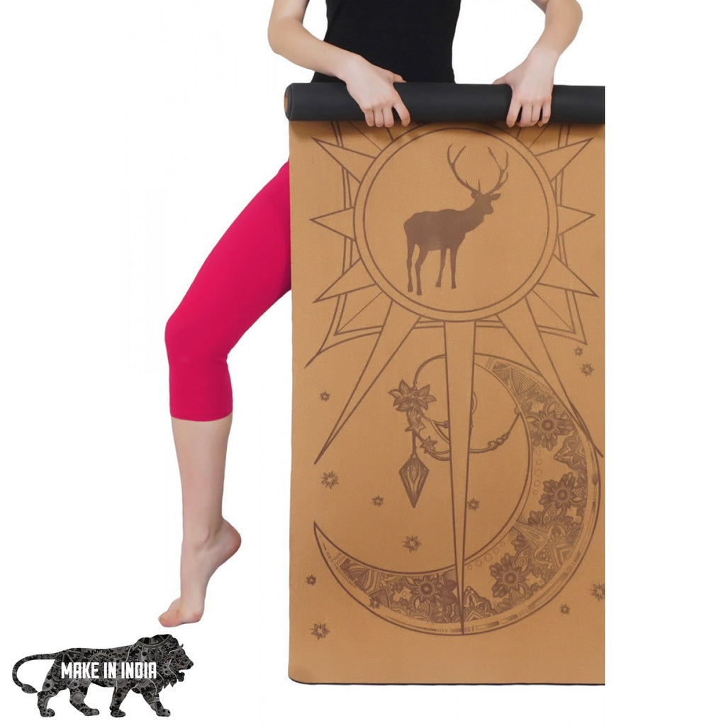 PU Cork Yoga Meditation Mat - Design 2