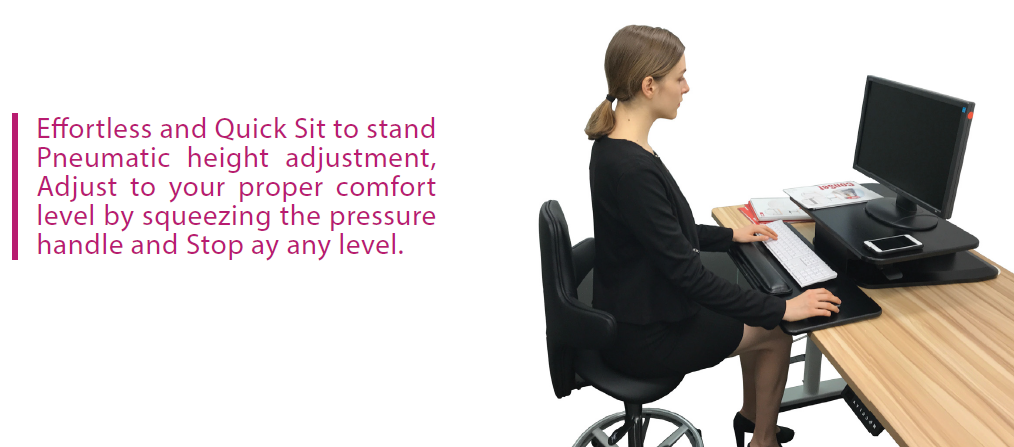 Sit to Stand Desktop Riser with pneumatic adjustment