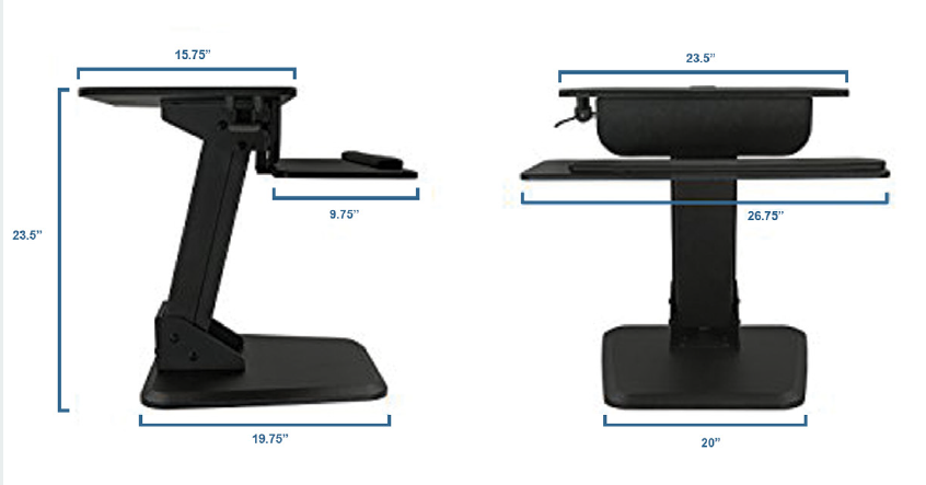 Sit to Stand Desktop Riser - Dimensions