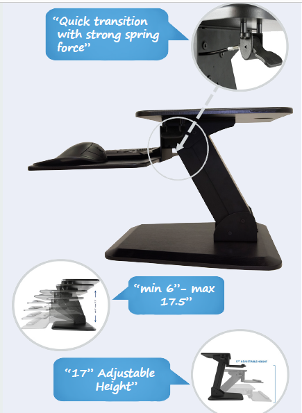 Sit to Stand Desktop Riser - Height