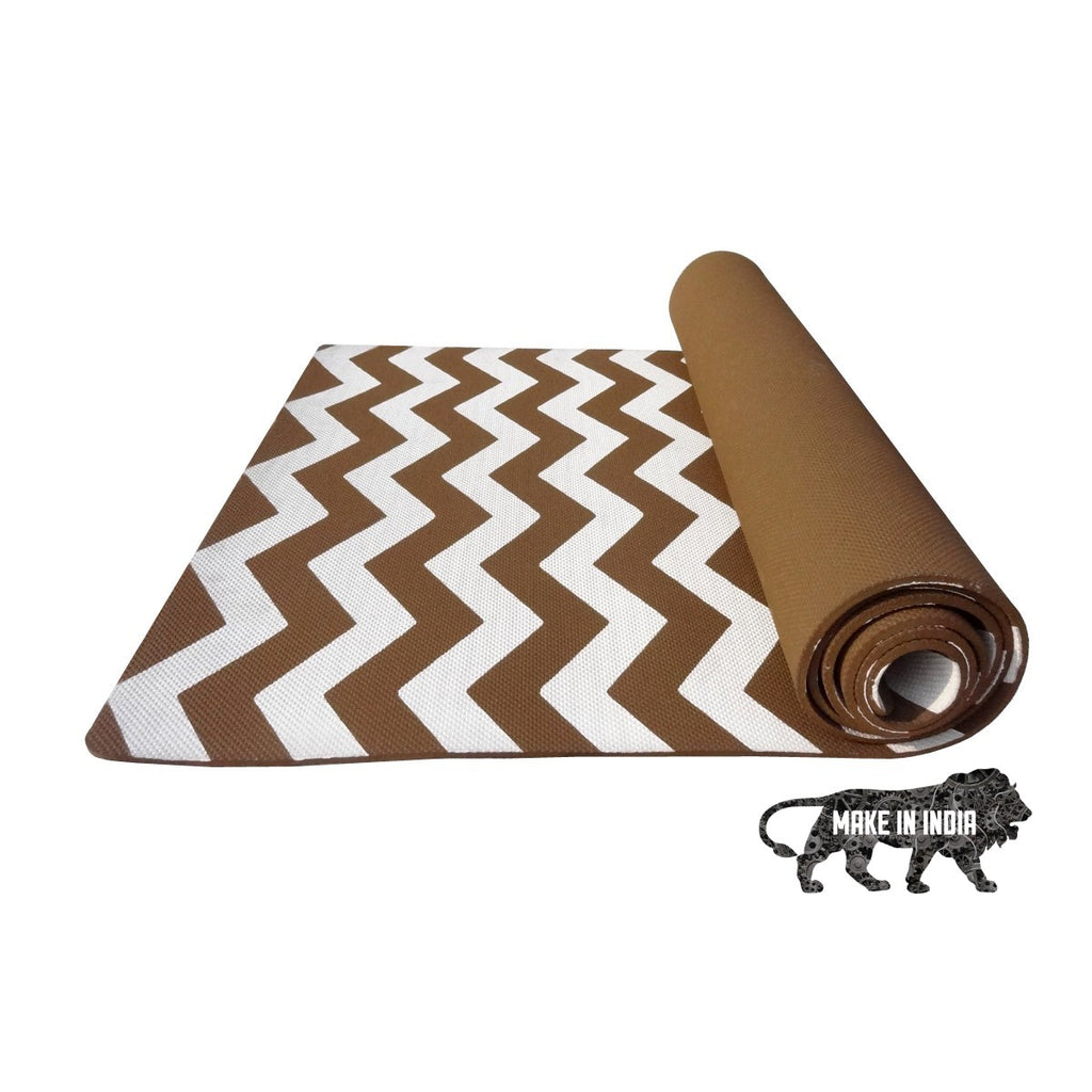 Zig Zag Yoga Meditation Mats - Brown