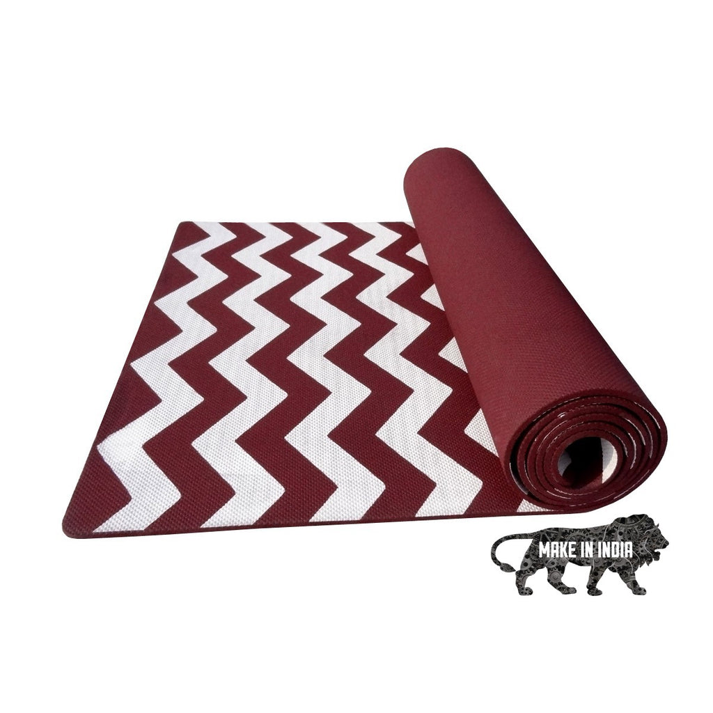 Zig Zag Yoga Meditation Mats - Cherry red