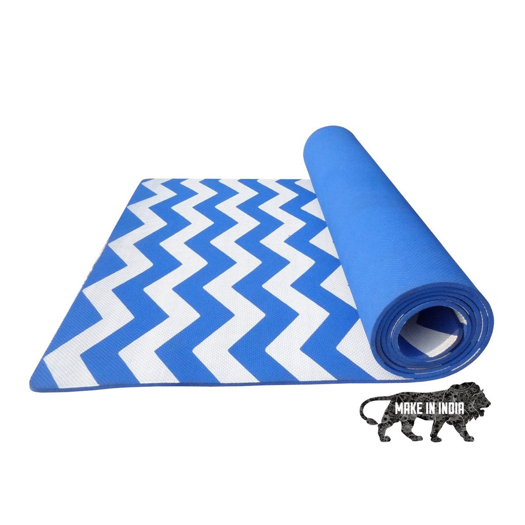 Zig Zag Yoga Meditation Mats - German Blue