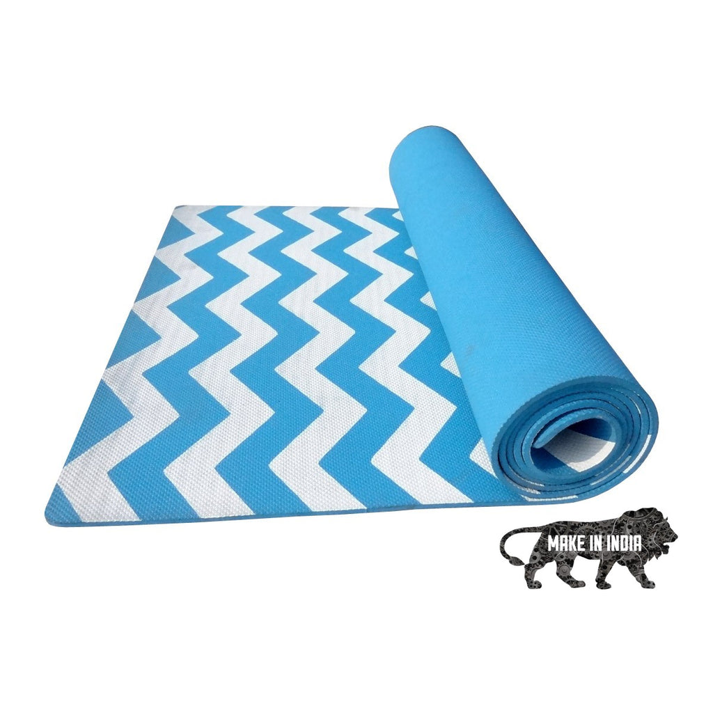 Zig Zag Yoga Meditation Mats - Light Blue