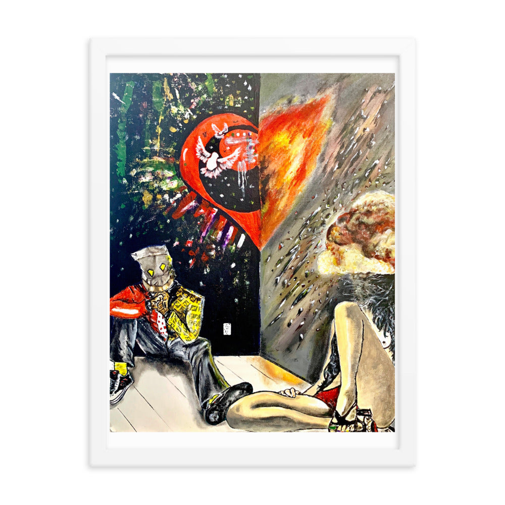 """Fire Love"" Comic Art Framed Poster - PREMIUM FATURE"