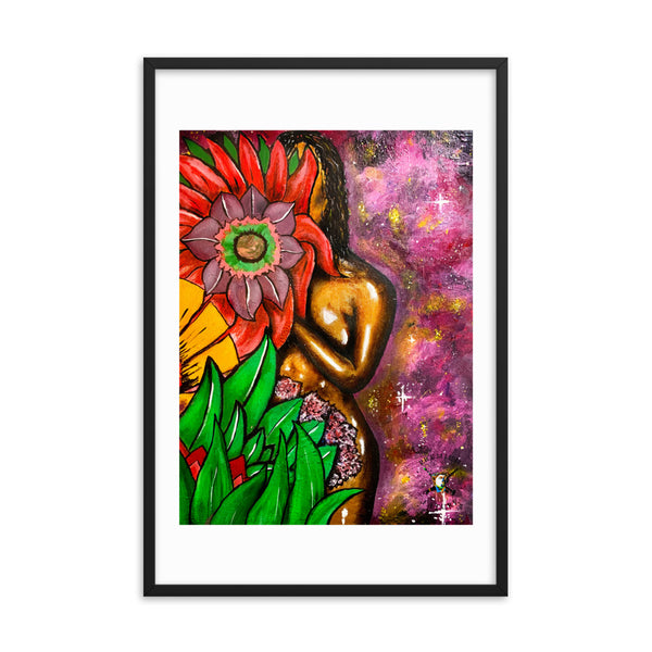 "Golden Woman ""Flower Galaxy"" Framed Poster - PREMIUM FATURE"
