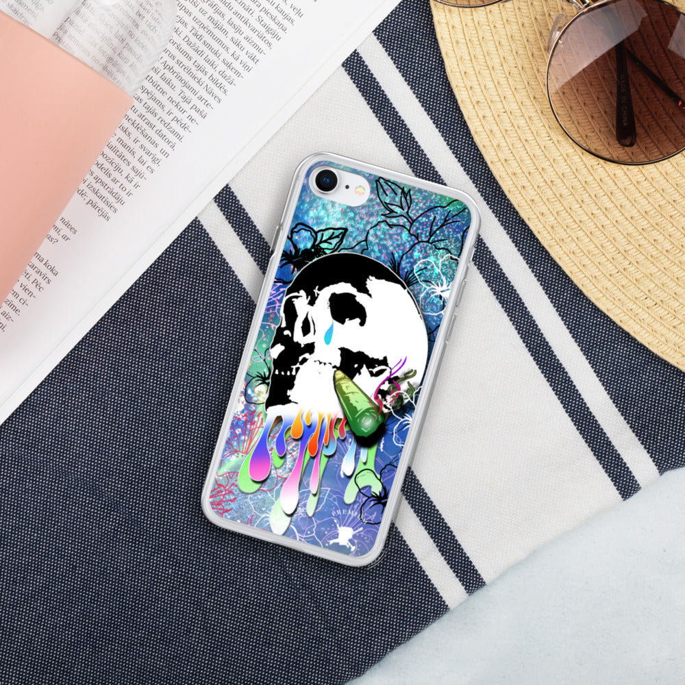 Abstract Skull Flower Liquid Glitter iPhone Case - PREMIUM FATURE