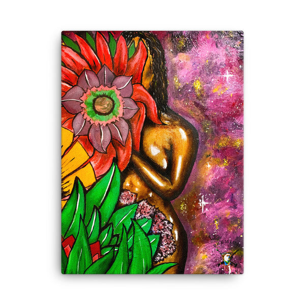 "Golden Woman ""Flower Galaxy"" Canvas - PREMIUM FATURE"