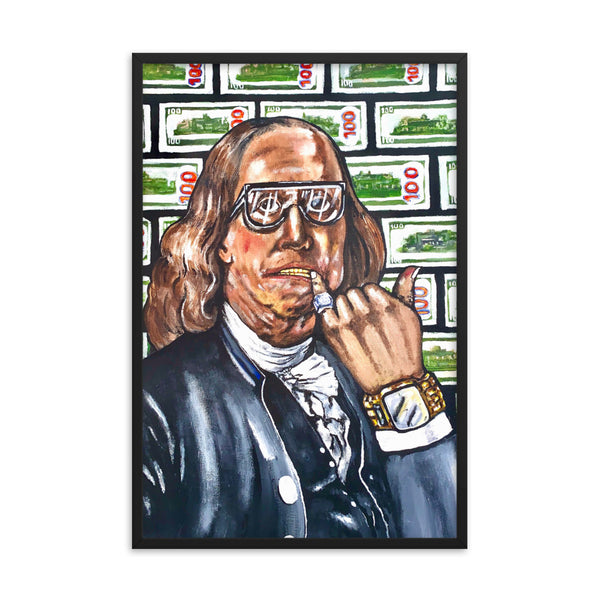 "Benjamin Franklin ""Money Habits"" Framed poster - PREMIUM FATURE"