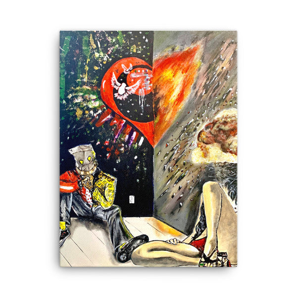 """Fire Love"" Comic Canvas Art - PREMIUM FATURE"
