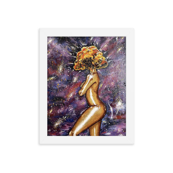 Golden Lady in Galaxy Framed poster - PREMIUM FATURE