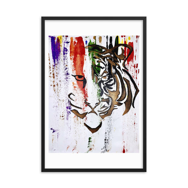 Abstract Tiger Framed Poster: Courageous - PREMIUM FATURE